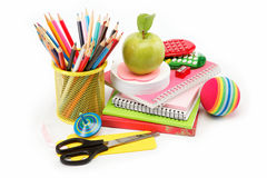 School and office supplies. Back to school. School and office supplies on white background. Back to school Royalty Free Stock Photography