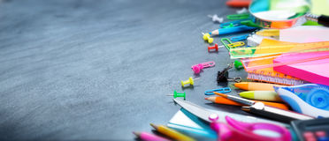 School and office supplies. On blackboard Stock Photos