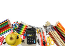 School and office supplies, calculator, notebook isolated. royalty free stock images