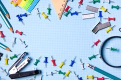 School and office supplies on the desktop. Top view with copy space. Frame with stylish stationery. The concept of school and stock photos