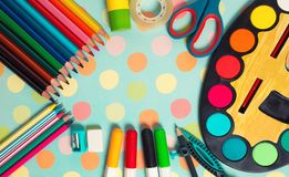 School and office supplies frame. Stock Image