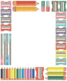 School and office supplies frame for back to school, home or off Stock Image