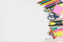 School and office supplies frame, on white background Stock Photography