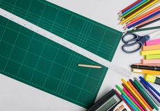 School and office supplies frame, on white background Stock Image