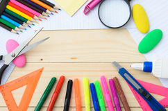 School and office supplies frame Royalty Free Stock Images