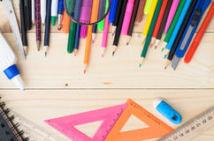 School and office supplies frame Royalty Free Stock Photography