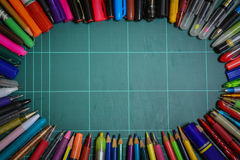 School and office supplies. This image is a view from above Royalty Free Stock Images