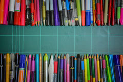 School and office supplies. This image is a view from above Royalty Free Stock Photography