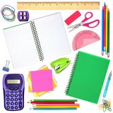 School or office supplies individually isolated on white Stock Photos