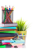 School and office supplies. Isolated on white background stock photography