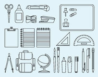 School and office supplies. Linear Stock Illustration school and office supplies Stock Photo
