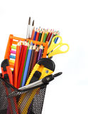 School and office supplies in pencil case isolated. Stock Photography