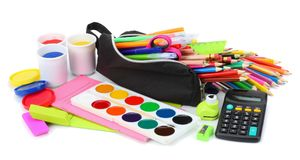 school and office supplies. school background. colored pencils, pen, pains, paper for school and student education isolated on Stock Images