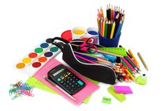 school and office supplies. school background. colored pencils, pen, pains, paper for school and student education isolated stock photography