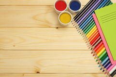 School and office supplies. school background. colored pencils, pen, pains, paper for  school and student education Royalty Free Stock Image