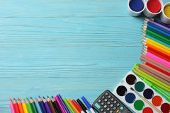 School and office supplies. school background. colored pencils, pen, pains, paper for  school and student education. School and office supplies. school Stock Images