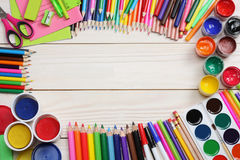 School and office supplies. school background. colored pencils, pen, pains, paper for  school and student education Royalty Free Stock Photography