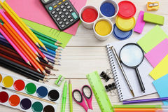 School and office supplies. school background. colored pencils, pen, pains, paper for  school and student education Stock Photo