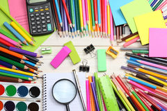 School and office supplies. school background. colored pencils, pen, pains, paper for  school and student education Stock Images