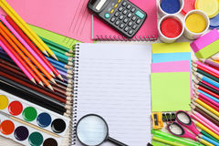 School and office supplies. school background. colored pencils, pen, pains, paper for  school and student education Royalty Free Stock Images