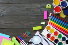School and office supplies. school background. colored pencils, pen, pains, paper for  school and student education Stock Image