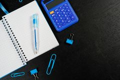 School and office supplies on office table. Male or boyish still life on the topic of school, study, office work. Back to school of education season background stock photos