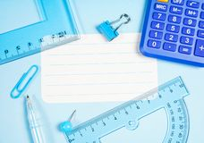 School and office supplies on office table. Male or boyish still life on the topic of school, study, office work. Back to school of education season background royalty free stock photo