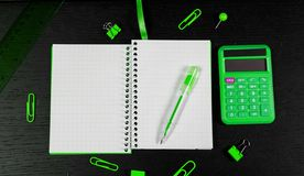 School and office supplies on office table. Male or boyish still life on the topic of school, study, office work. Back to school of education season background royalty free stock images