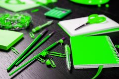 School and office supplies on office table. Male or boyish still life on the topic of school, study, office work. Back to school of education season background royalty free stock photos
