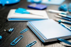 School and office supplies on office table. Male or boyish still life on the topic of school, study, office work. Back to school of education season background royalty free stock photography
