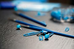 School and office supplies on office table. Male or boyish still life on the topic of school, study, office work. Back to school of education season background royalty free stock image