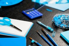 School and office supplies on office table. Male or boyish still life on the topic of school, study, office work. Back to school of education season background stock photography