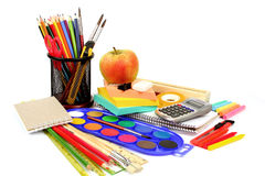 School and office supplies on white Royalty Free Stock Photos
