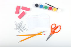School office supplies on a white background Stock Photos