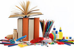 School and office supplies on white background. Stock Photos