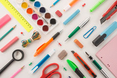 School office supplies. On a white background Stock Photos