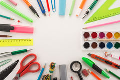 School office supplies. On a white background Royalty Free Stock Photos