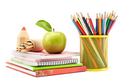 School and office supplies on white background, back to school Stock Photo