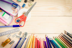 School and office supplies on wood background. Back to school. Royalty Free Stock Photos
