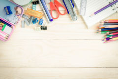 School and office supplies on wood background. Back to school. Royalty Free Stock Photography