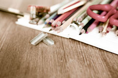 School and office supplies on wood background. Back to school. V Royalty Free Stock Images