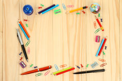 School office supplies on wooden background Stock Photo