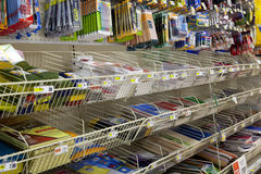 School and Office Supply. Section at supermarker (grocery store) with no people Royalty Free Stock Photo