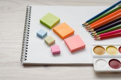 School and office tools for drawing on a wooden background stock photos