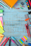School or office tools on vintage wood table. Back to school Stock Photography