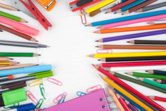 School or office tools on white background Stock Image
