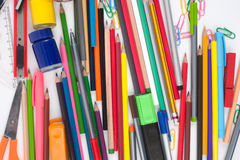 School or office tools on white background Royalty Free Stock Image
