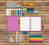 School or office tools on wood background Royalty Free Stock Photos