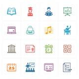 School & Onderwijs de Pictogrammen plaatsen 2 - Gekleurde Reeks Royalty-vrije Stock Afbeeldingen