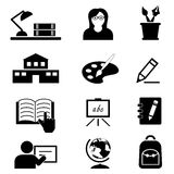 School, onderwijs en universiteitspictogrammen Stock Foto's